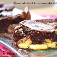 Brownie de chocolate con galleta oreo y chocolate blanco