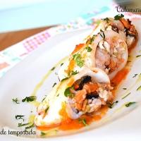 Calamares rellenos de lubina, langostinos y mejillones