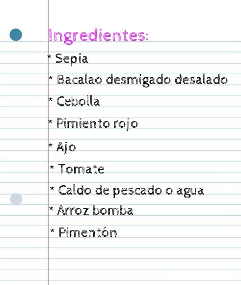 Ingredientes arroz meloso