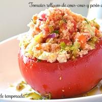 Tomates rellenos de cous-cous y pesto de cacahuete